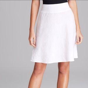 THREE DOTS White Knee Length Linen Skirt Size S